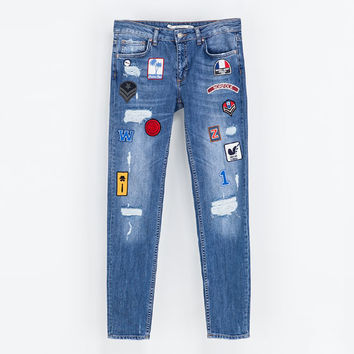 PATCHED JEANS - Jeans - Woman | ZARA United States