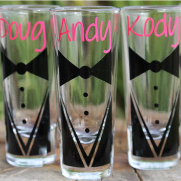 8 Custom Groomsmen Shot Glasses Tux with Name Wedding Gifts Groomsmen Gifts Bachelor Parties Wedding Party Groom Personalized Shot Glass