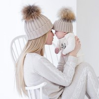 Matching Mommy and Me Baby Knit Pom Pom Cap Set