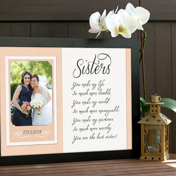 Sister Gift, Bridesmaid Gift - Sisters wedding gift, Personalized picture frame, Custom Wedding Gift