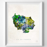 Ile de France Map, French, Print, France, Watercolor, Paris, Home Town, Poster, Country, Wall Decor, Painting, World, Living Room, Gift