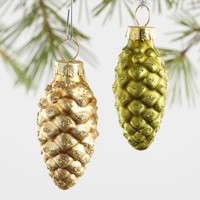 12 Pack Glass Pinecone Boxed Ornaments Set of 4