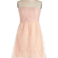 ModCloth Pastel Mid-length Strapless A-line Petal-Perfect Promenade Dress