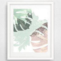 Monstera leaf, art print, collage, tropical plants, wildflowers, pastel, rose art, poster, minimalist art, monstera wall art, home decor