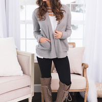 Bookstore Babe Long Sleeve Open Cardigan (Heather Grey)