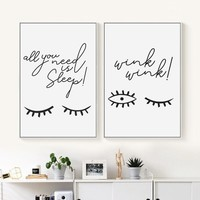 Bianche Wall Abstract Eyes Blink Black and White Simple Canvas Painting Art Print Poster Picture Wall Paintings Home Decoration