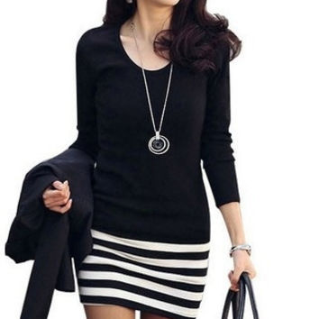 2015 Women's new Korean Ladies large size fashion Slim stripe dress (Size: M, Color: Black) = 1753645956