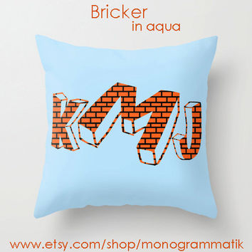 Monogram Personalized Custom Pillow Cover 16x16 Couch Art Bedroom Room Decor Initials Name Letters Aqua Blue Bricks Mario Bros. Video Game