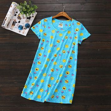 2017 Summer Brand Homewear Girl Casual Cartoon nightgown Women Cotton nightdress Female Short sleeve Round collar sleeping dress