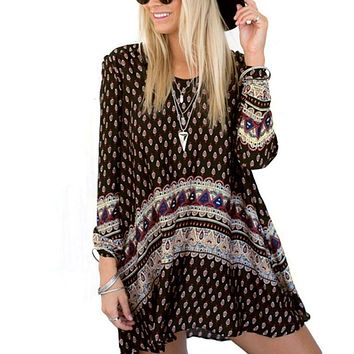 Women Vintage Retro Bohemian Style Boho Summer Beach Long Sleeve Mini Dress