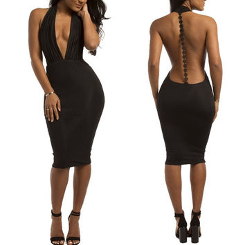 Women's Sexy V-Neck Bandage Dress Bodycon Fashion Cocktail Evening Party Club Backless Wear = 1946110020