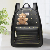 Canvas Travel Bag Black Leather Laptop Bookbag Backpack Daypack