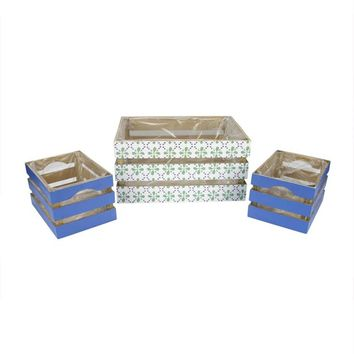 Set of 3 French Countryside Green Rectangular Wooden Decorative Storage Box Nesting Crates 13.5""
