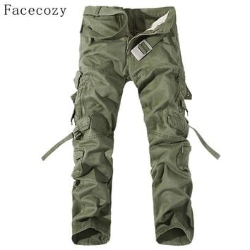 Facecozy Men Autumn Military Outdoor Pant Male Windproof Loose Style Hunting Sports Trouser Plus Size