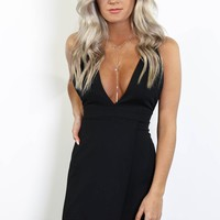 You Won't Forget Black Crepe Back Satin Strappy Dress
