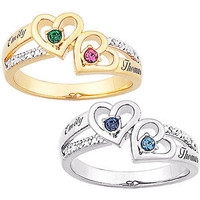 Walmart: Sterling Silver or 14kt Gold over Sterling Couples Heart Birthstone and Name Diamond Ring