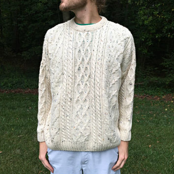 Made in Scotland - West Highland Woolens - Thick Knit Fisherman Style Sweater - 100% Pure New Wool - Aran Cabled - Heathered - Men's Size XL