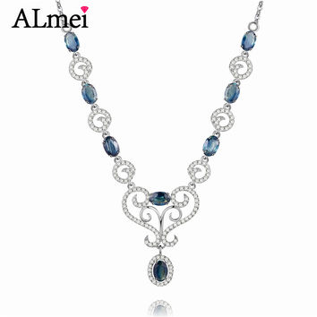 Almei Girls 0.5ct Sapphire Birthstone Long Necklaces Solid Silver 925 Engagement Diamond Jewelry for Women with Box 40% FN059