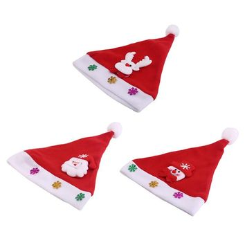 Kid Cheer Christmas Hat Children Santa Claus Reindeer Snowman Cute Party Cap New Red 25*30cm Cartoon Glowing Hats Cute Cap