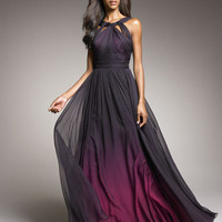 Monique Lhuillier - Shirred Ombre Gown - Bergdorf Goodman
