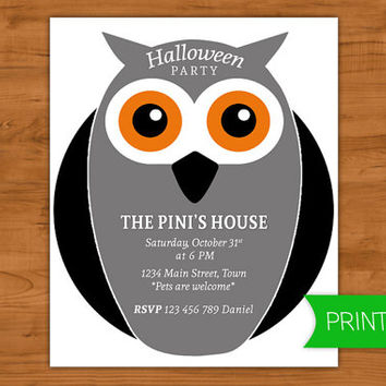 Halloween party invitation - Owl illustration - Printables for parties