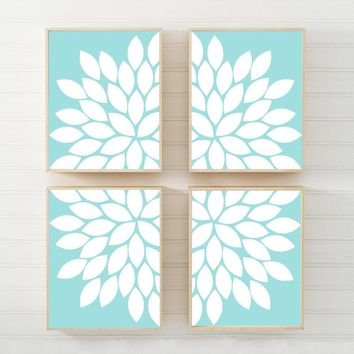 AQUA Blue Flower Wall Art, Flower CANVAS or Prints Aqua Blue Bedroom Wall Decor, Aqua Blue Bathroom Decor, Aqua Blue Living Room Set of 4