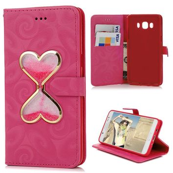 Fashion Flip Wallet Glitter Liquid Quicksand PU Leather Card Case Cover With Card Slots For Samsung Galaxy J5 2016 U.S. Version