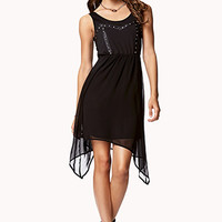 FOREVER 21 Studded Faux Leather Panel Dress Black/Gunmetal