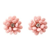 Lt Pink Beaded Flower Statement Earrings by Charlotte Russe