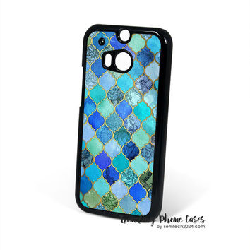 Cobalt Blue Aqua Gold Decorative Moroccan Tile Pattern HTC One M8 Case Cover for M9 M8 One X Case