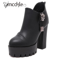 Punk Boots Casual Chunky High Heels Women Skull Charms PU Leather Back Zipper