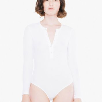 Thermal Henley Long Sleeve Bodysuit | American Apparel