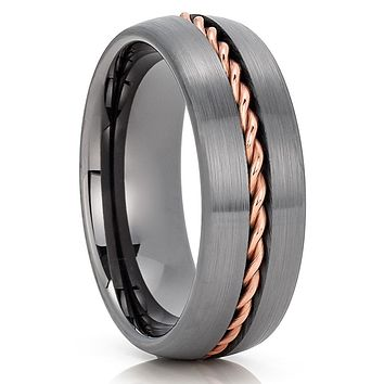 Gunmetal Tungsten Wedding Band - 8mm - Gunmetal Tungsten Ring - Braid