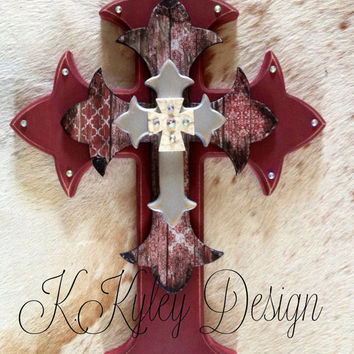 Hand painted wood cross by KKyleyDesign on Etsy