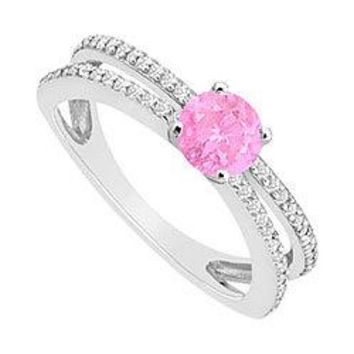 Pink Sapphire and Diamond Engagement Ring : 14K White Gold - 0.75 CT TGW
