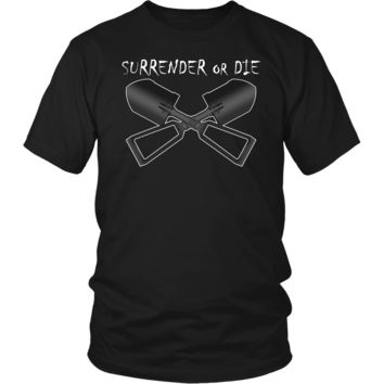 Surrender or Die Cross E-Tool Black Shirt