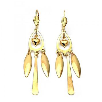 Gold Layered 02.63.0611 Chandelier Earring, Heart and Teardrop Design, Polished Finish, Gold Tone