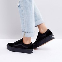 Vans Old Skool Platform Trainers In Black Mono at asos.com