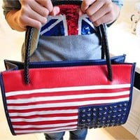 Retro American Flag Rivet Handbag