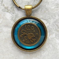 leo keychain: blue - mens keychain - mens keyring - zodiac keychain - astrology - astrological sign - boyfriend gift - birthday gift