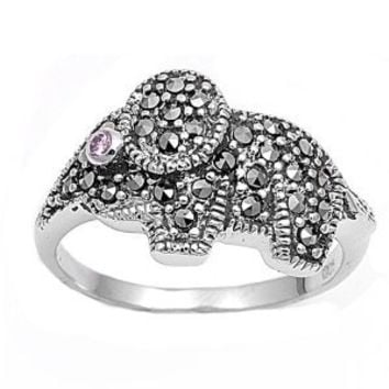 High Fashion Sterling Silver Wildlife Design Marcasite Elephant Ring with Pink CZ