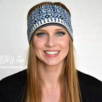 Reversible Yoga headband, Blue headband, Wide boho headband, Ladies fashion headwrap, stretch fabric headband, Workout Fitness Headband