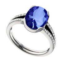 Tanzanite AAA Oval & round diamonds 3.75 carat anniversary ring jewelry