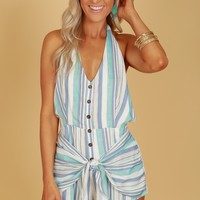 Button Up Striped Halter Romper Mint