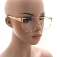 Flat Top Vintage Metal Bar AVIATOR Oversized Clear Lens Sun Glasses Gold Frame