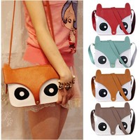 [ grdx02078]Retro Owl Fox  Messenger Handbags