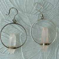 Sterling Silver Rose Quartz Crystal Pendulum Hoop Earrings Hand-Crafted Jewelry