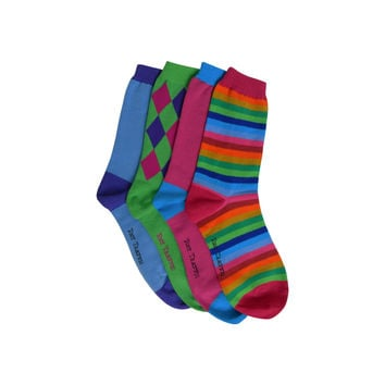 Pack of Four Individual Mismatched Crew Socks in Green, Blue, Pink, and Rainbow