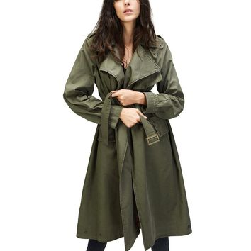 Autumn New Fashion Women's Casual trench coat Cotton Vintage Washed Military Outwear Loose Clothing with belt