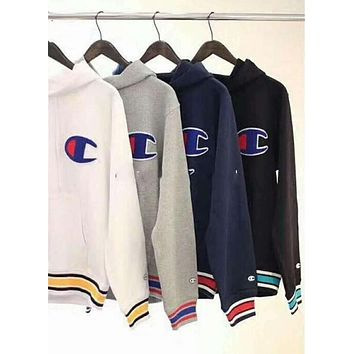 Champion Trending Unisex Stripe Print Loose Simple Hoodie Pullover Top Sweater Sweatshirt